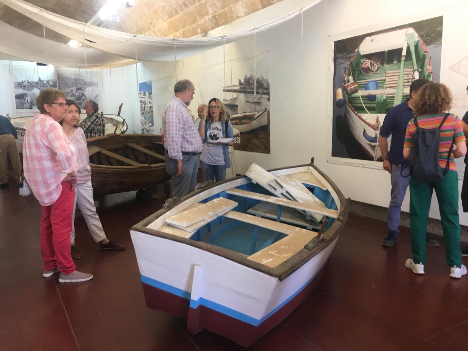 Group of people visit the headquarters of the Maritime Museum in Palma.
